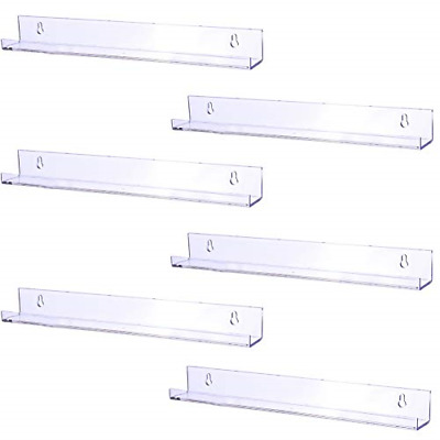 Modern Picture Ledge Display Toy Storage Wall Shelf Clear 6 Pack 15 Inch Acrylic