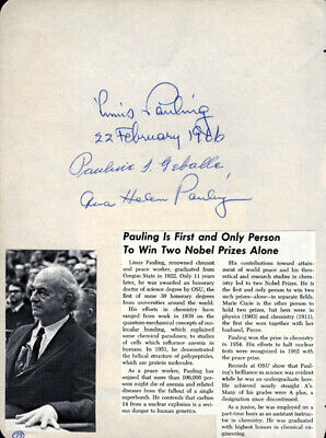 Linus Pauling - Signature(S) 02/22/1966 With Co-Signers