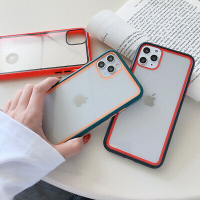 For iPhone 11 Pro Max XS XR 7 8 Shockproof Acrylic Bumper Transparent Case Cover