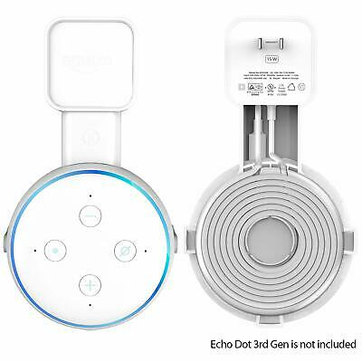 Echo Dot 3rd Generation Wall Mount Holder Case Stand Cable Tidy Management WHITE