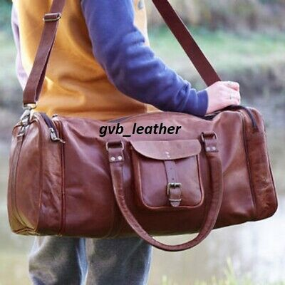 Natural Waxed Vintage Men Real Leather Tote Luggage S Travel Bag Duffel Gym Bag