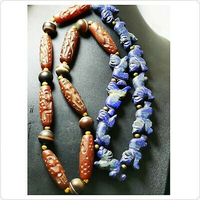 Sassanian old 8 ciylenderseals agate intaglio 10 lapis stone lion beads necklace