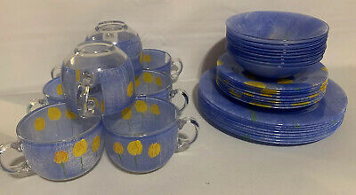 Select ARC France Arcopal Blue Glass Yellow Tulips Dinner,Salad, Soup Bowl & Cup