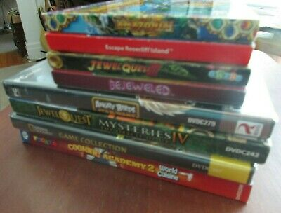 Lot of 8 VTG PC Games National Geographic Bejeweled Angry Birds Cooking World