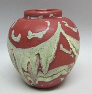 "Very Rare WELLER ""HUDSON"" RED Drip Art Pottery Vase  c. 1920  American antique"