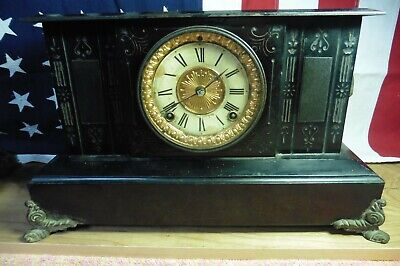 Antique Ansonia Mantle Clock 1888 Iron Aries Rams Heads Rustic brass horoscope