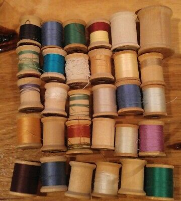 Vintage Lot 30 WOOD THREAD SPOOLS Corticelli~Star~Coats & Clarks~Lily~More