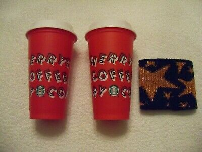 2019 Starbucks Holiday Christmas Reusable Red Cup Tumbler Set Of 2 + Hot Koozie