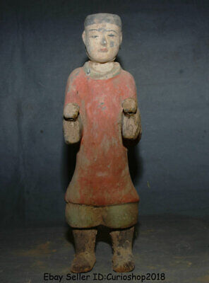 """17.2"""" Antiquity Old Chinese Han Painting Pottery Dynasty official People Statue"""