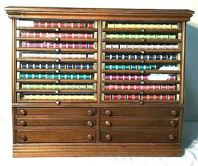 Awesome 1890's Corticelli Country / General Store Thread Spool Cabinet W / 16 Gl