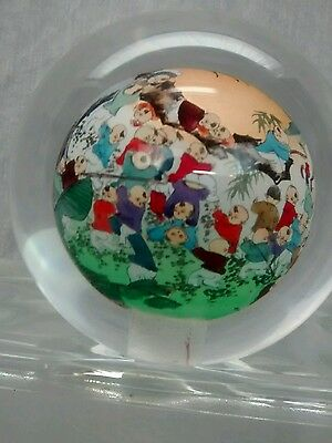 Fine Vintage Chinese  reverse paint signed kids playing round glass ball