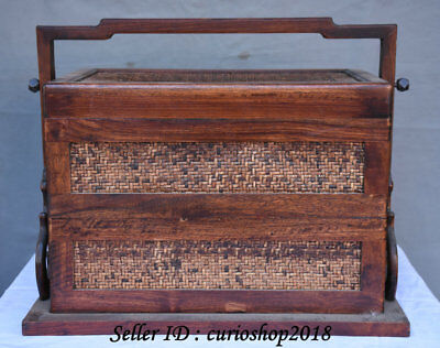 """18"""" Old China Huanghuali Wood Dynasty Bamboo Portable 2 Layer Food Vessel Box"""