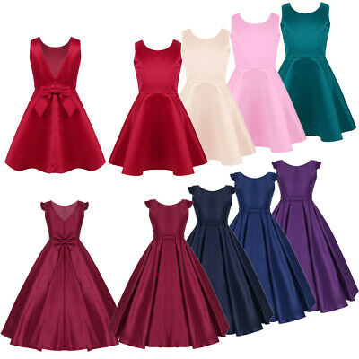 Satin Flower Girl Dress Kids Pageant Wedding Bridesmaid Formal Occasion Dresses