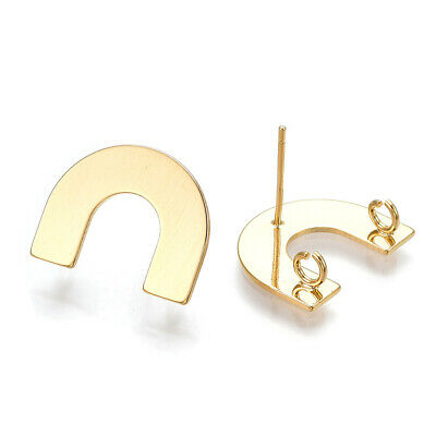 10 Brass U-Shape Earring Posts Smooth Back 2-Loop Gold Plated Stud Findings 14mm
