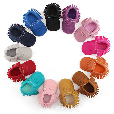 Toddler Newborn Baby Boy Girl Soft Sole Suede Shoes Tassel Crib Shoes Infant