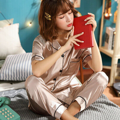 Women Ladies Satin Pyjama Set Silky Autumn Lounge Wear Pajamas Short Sleeve Gown