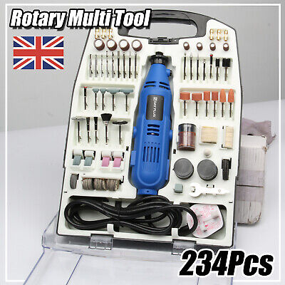 234PC Rotary Multi Tool Hobby Precision Drill + Dremel Type Accessories + Case