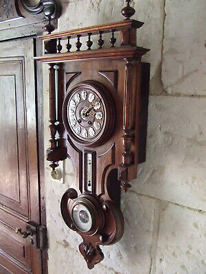 Antique french carved walnut wall clock with thermometer and barometer all good
