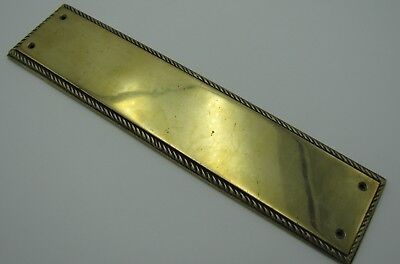 Old Reclaimed Brass Finger Push Plate with Rope Edge Border