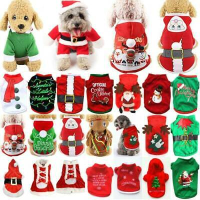 UK Pet Cat Dog Christmas Outfit Costumes Sweater Hoodies Dress Xmas Clothes Coat