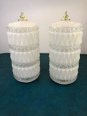 Pair Mid Century Modern Clear Frosted Deep Cut Glass Swag / Ceiling Light Shades