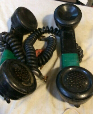 TWO Vintage Test Phone Lineman's Handset Black Bakelite UNTESTED