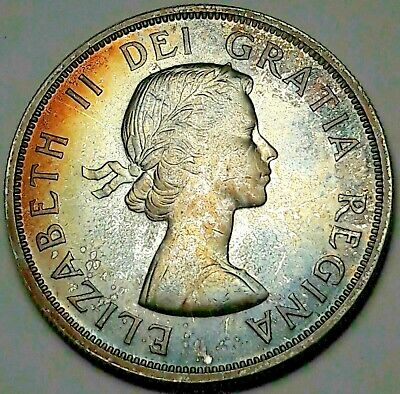 1962 Canada Silver Dollar Proof Like Unc Gem Monster Deep Color Toned (Dr)