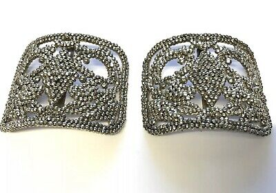 Antique / Vintage French Pair Matching Polished Cut Steel Large Shoe Buckles