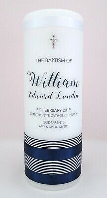 Personalised Baptism & Christening Candle Boys Navy Double Stripe