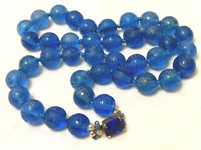 Chinese Antique Carved Shu Blue Peking Glass Beads Necklace, Silver Clasp