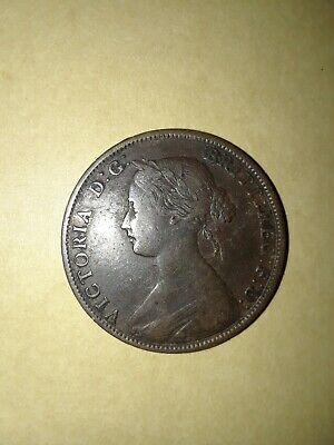 Rare 1864 New Brunswick One Cent Victoria Short 6 Old Canadian Coin