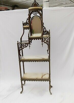 Victorian Brass Etagere with Beveled Mirror and Onyx Shelves, Brass Stand Shelf