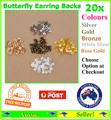 20x Earring Back Backs Backings Butterfly Stainless Steel nuts Stops Stoppers