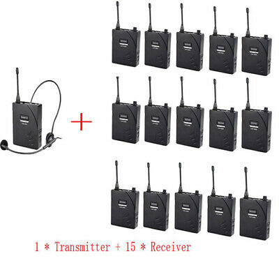 Professional Sets UHF Tour Guide Wireless System 1 Transmitter 15 Receivers mic