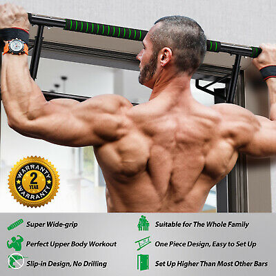 FITNESS DOOR GYM BAR EXERCISE CHIN UP PULL PUSH UP STRENGTH WORKOUT, No drilling