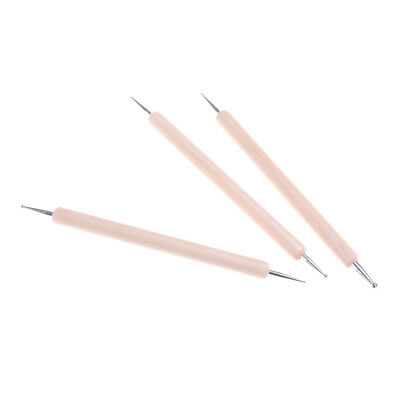 3x Ball Styluses Tool Set For Embossing Pattern Clay Sculpting WW