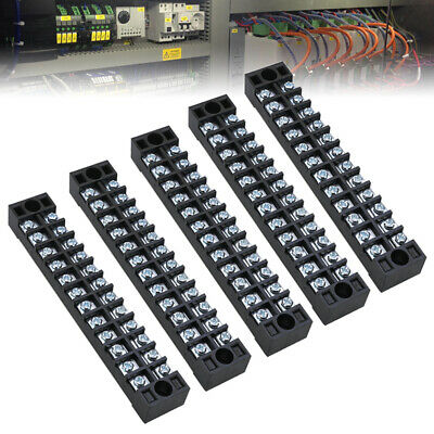 5Pcs 12 Way 600V Dual Row Terminal Block Position Barrier Strip Wire Connector