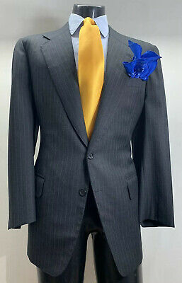 Bespoke Holland Sherry Wool Gray Striped Suit Mens 44 R Vented Working Cuffs