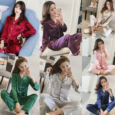 Women Ladies Silk Satin Pajamas Set Pyjama Sleepwear Nightwear Long Sleeve Suit