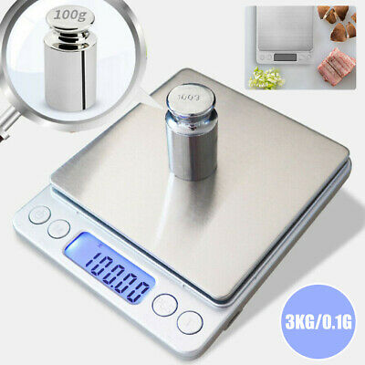 3kg/0.1g Jewellery Kitchen Food Scale Digital LCD Electronic Balance Scales
