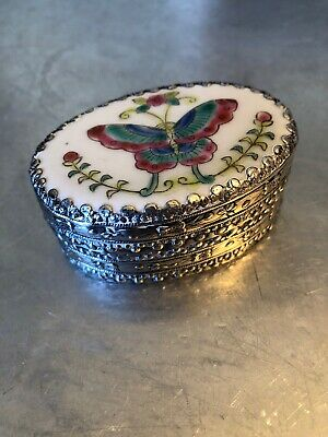 Vintage Chinese Shard Silver And Porcelain Box With Mirror - Butterfly