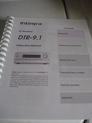 Integra DTR 9.1 Operation Manual (Coil Bound w/ Protective Cover)