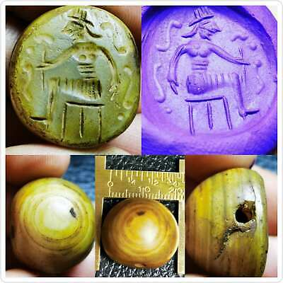 AGate sassanian stone old beautiful king stone Seal Bead # 92