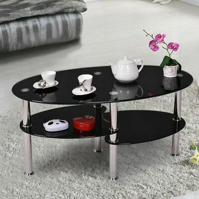 Glass Coffee Table With Storage Oval Chrome Modern Black Living Room Furniture