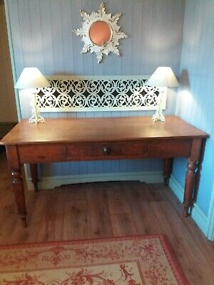 Antique Victorian Pine Kitchen Table with Drawer, Mahogany Colour