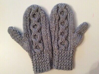 Hand Knitted Childs Aran Mittens/Cable Design, Grey, 5-7 Years, BNWOT