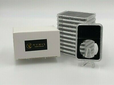 10 Coin Holder Slabs In BLACK 40mm Silver Eagles Graded Case with Label NGC PCGS