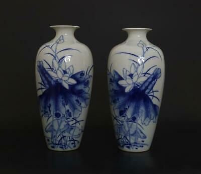 Pair Antique Chinese Porcelain Blue and White Vase Wangbu Marked-louts flower