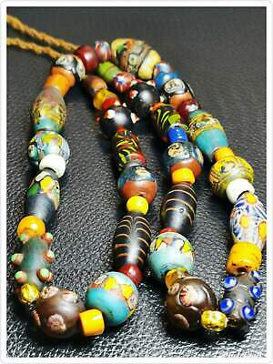 Collectible ancient islamic roman mosaic glass beads strand of 34 beads   # 93