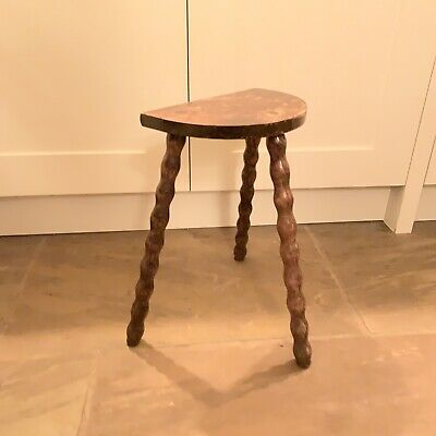 Vintage Primitive French Oak? Farmhouse Milking Stool Turned Legs Half Moon Top